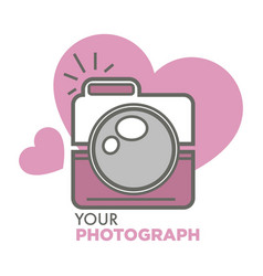 your photograph old school photo camera with vector image