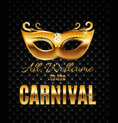 carnival party mask holiday poster background vector image