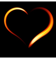 Fiery heart on a black background vector image