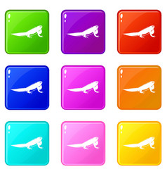 iguana icons 9 set vector image vector image