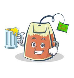 tea bag character cartoon art with juice vector image vector image