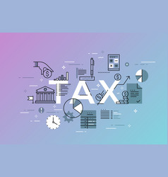 thin line flat design banner for tax web page vector image vector image