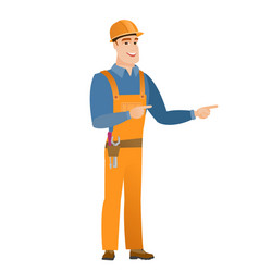 young caucasian builder pointing to the side vector image