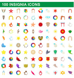 100 insignia icons set cartoon style vector