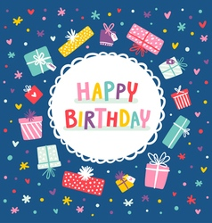 Birthday card and presents frame vector image vector image