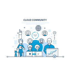 cloud community support communications vector image