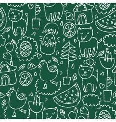 Cute seamless chalkboard pattern vector image