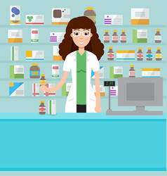 woman female pharmacist with shelves with vector image