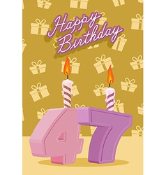 Birthday candle number 47 with flame vector image