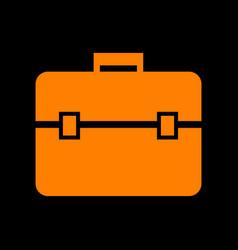 briefcase sign orange icon on black vector image