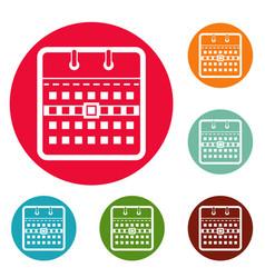 calendar page icons circle set vector image