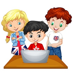 Children looking at computer vector image