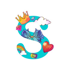 cute magic letter s vector image