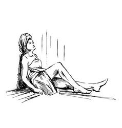 hand sketch woman in sauna vector image