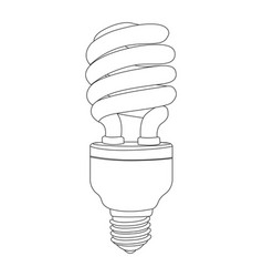 Monochrome contour of spiral fluorescent bulb vector