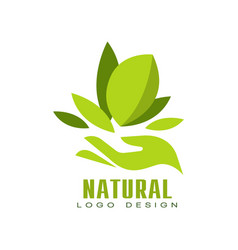 natural logo design healthy premium quality label vector image vector image