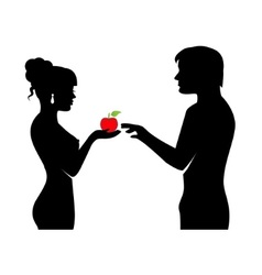 people and the forbidden fruit vector image vector image