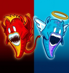 angel and demon plain vector image vector image