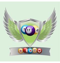 Bingo balls on a shield and banner vector image vector image