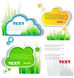 colorful grass speech sticker vector image vector image