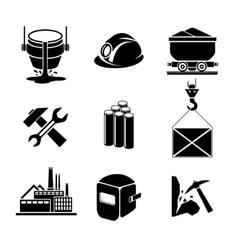 Heavy industry or metallurgy icons set vector image vector image
