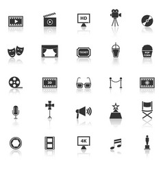 movie icons with reflect on white background vector image vector image