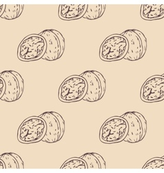 Outline walnut seamless pattern vector image vector image