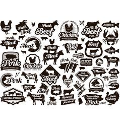 restaurant cafe logo food meat or menu vector image vector image