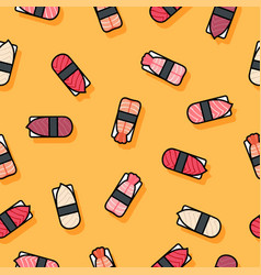 seamless pattern sushi yellow vector image vector image
