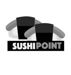 Sushi point menu logo design vector