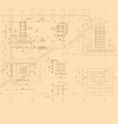 vintage architectural blueprint background vector image