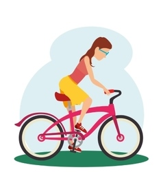 woman in bicycle isolated icon vector image