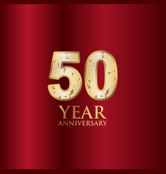 50 year anniversary gold with red background vector