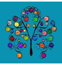 Abstract tree with patterned colored fruits vector image