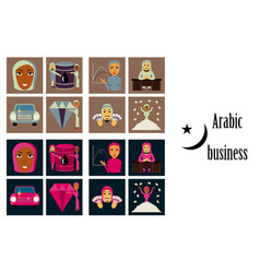Assembly flat icons on theme arabic business vector