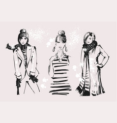attractive young adult girls female group standing vector image