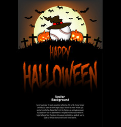 Baseball ball with witch hat and happy hallowen vector
