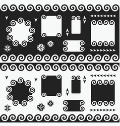 black and white swirl empty banners emblems set vector image