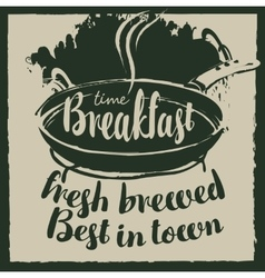 Breakfast with frying pan and fried eggs vector