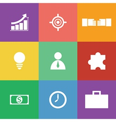 Business icon set flat design vector