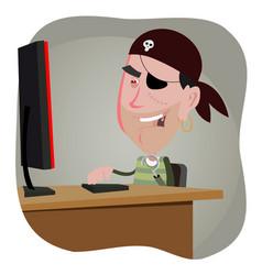 cartoon pirate hacker vector image vector image