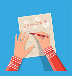 Child hand pen writing letter to santa claus vector