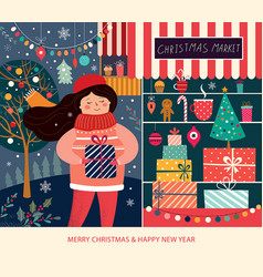 christmas market vector image