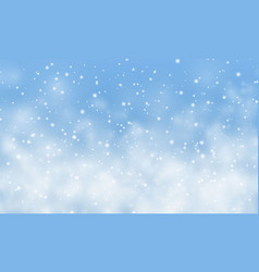 Christmas snow falling snowflakes on light blue vector