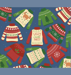 christmas ugly sweaters party winter collection vector image