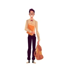 College university student geek in square vector image
