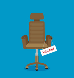 composition with brown office chair and sign vector image