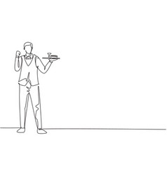 Continuous one line drawing waiter stood up vector
