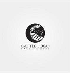 cow farm icon template cattle farm symbol vector image