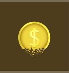 cracked dollar coin vector image